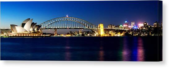 Canvas Print featuring the photograph Panoramic Photo Of Sydney Night Scenery by Yew Kwang