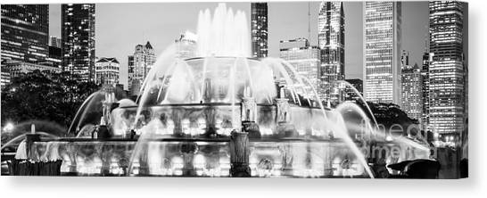 Chicago Skyline Art Canvas Print - Panoramic Picture Of Chicago Buckingham Fountain  by Paul Velgos