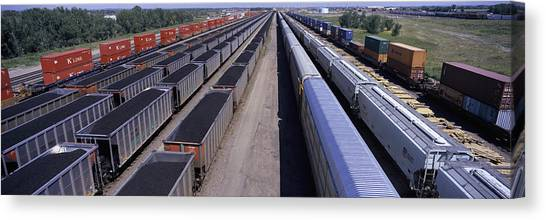 Freight Trains Canvas Print - Panoramic View Of Freight Cars At Union by Panoramic Images