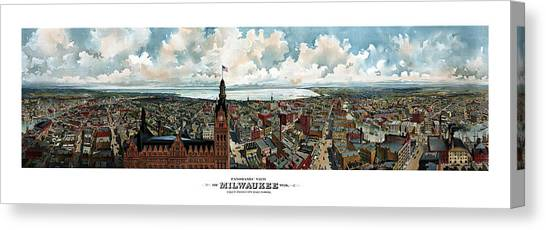 Milwaukee Brewers Canvas Print - Panoramic View Of Milwaukee Wisconsin by War Is Hell Store