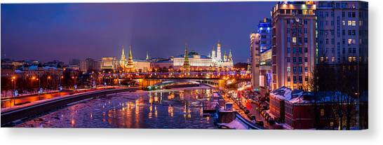 Moscow Canvas Print - Panoramic View Of Moscow River And Moscow Kremlin  - Featured 3 by Alexander Senin