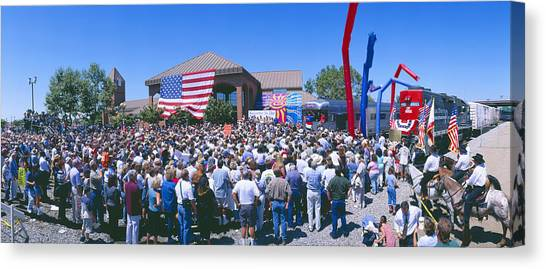 George W. Bush Canvas Print - Panoramic View Of Spectators At Oxnard by Panoramic Images