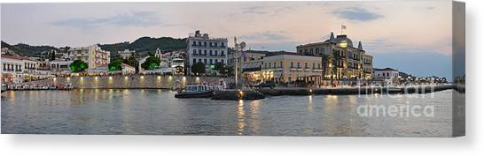 Port Canvas Print - Panoramic View Of Spetses Town by George Atsametakis