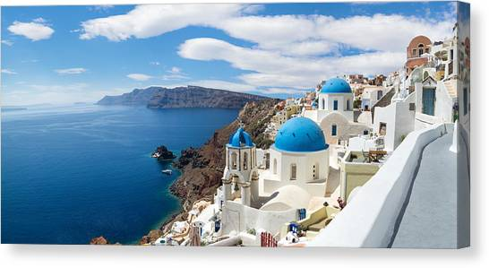 Panoramic View Of The Oia Village Canvas Print