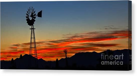 Desert Sunrises Canvas Print - Panoramic Windmill Silhouette by Robert Bales