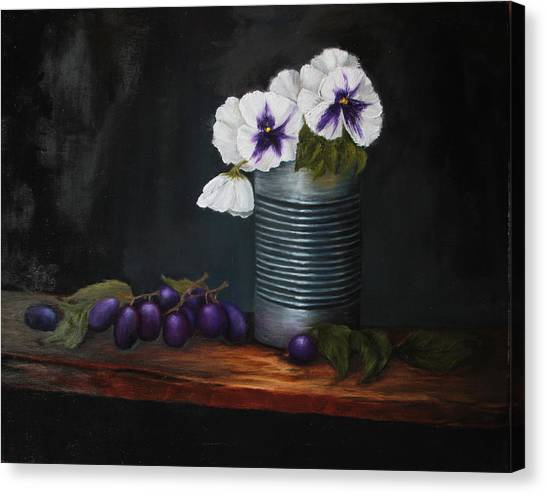 Pansies In Tin Can Canvas Print