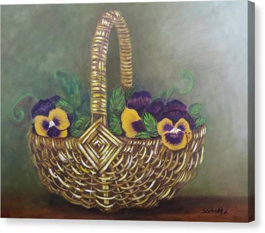Pansy Basket Sherry Nelson Study Canvas Print