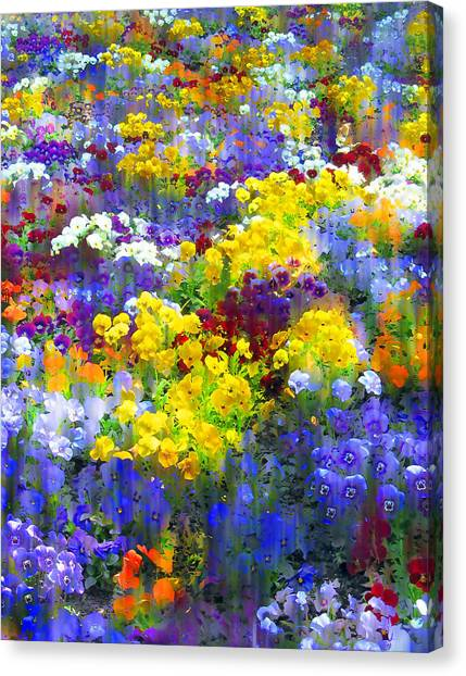 Floral Digital Art Canvas Print - Pansy Party by Jessica Jenney