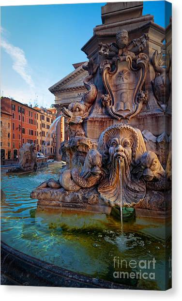 Rome Canvas Print - Pantheon Fountain by Inge Johnsson