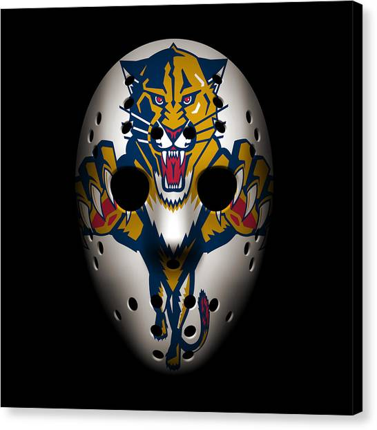 Florida Panthers Canvas Print - Panthers Goalie Mask by Joe Hamilton