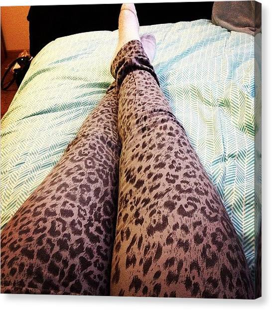 Lounge Canvas Print - Pants Today :) #cheetah #jeans #leopard by Kelly Solarz