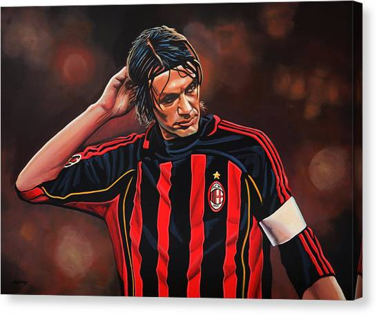 Ac Milan Canvas Print - Paolo Maldini by Paul Meijering