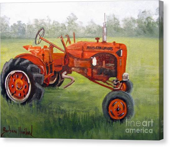 Papa's Red Tractor Canvas Print