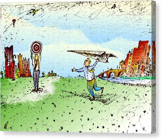 Paper Airplane & Bull's Eye Canvas Print by Vasily Kafanov