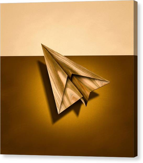 Toy Airplanes Canvas Print - Paper Airplanes Of Wood 1 by YoPedro