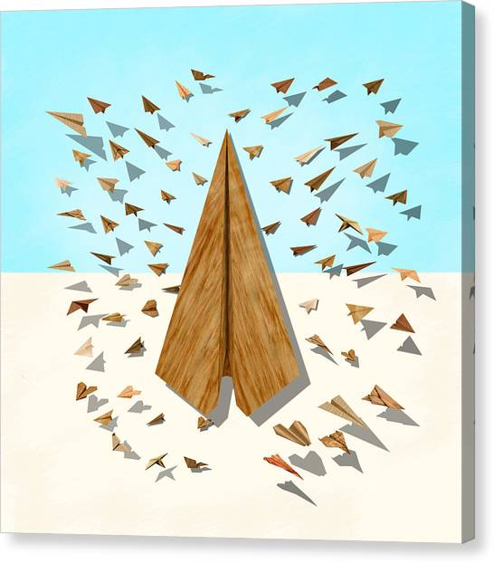Toy Airplanes Canvas Print - Paper Airplanes Of Wood 10 by YoPedro
