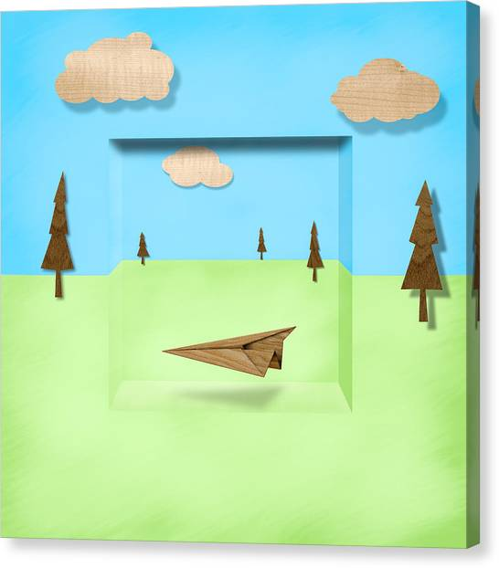 Toy Airplanes Canvas Print - Paper Airplanes Of Wood 11 by YoPedro