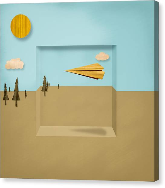 Toy Airplanes Canvas Print - Paper Airplanes Of Wood 12 by YoPedro