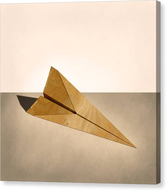 Toy Airplanes Canvas Print - Paper Airplanes Of Wood 15 by YoPedro