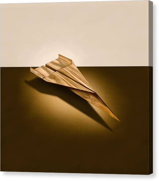 Toy Airplanes Canvas Print - Paper Airplanes Of Wood 3 by YoPedro