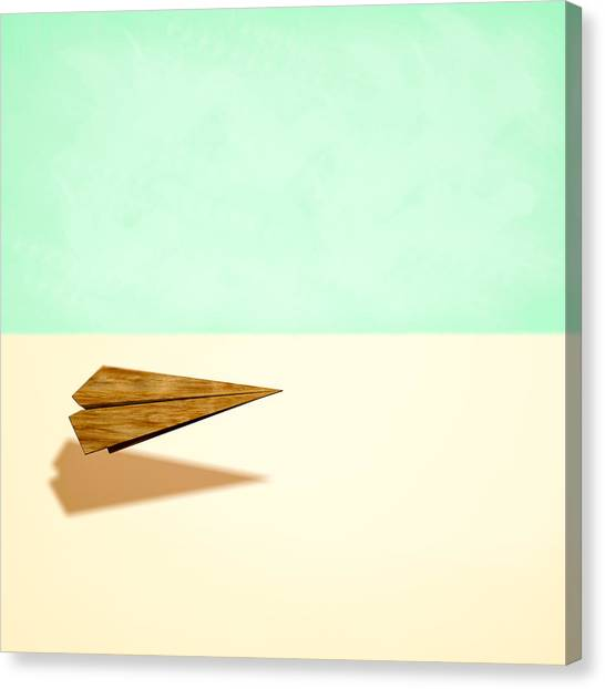 Toy Airplanes Canvas Print - Paper Airplanes Of Wood 9 by YoPedro