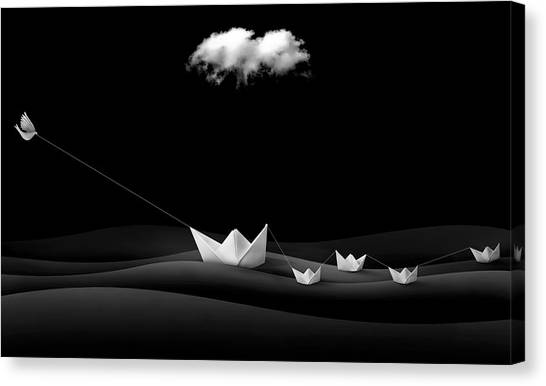 Dove Canvas Print - Paper Boats by Sulaiman Almawash