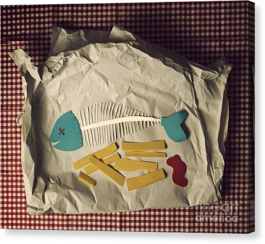 Paper Fish And Chips Canvas Print by Catherine MacBride