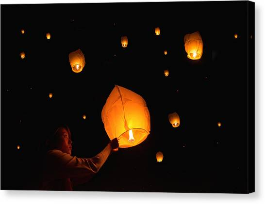 Paper Lanterns Canvas Print by Alexander W Helin
