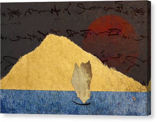 Torn Paper Collage Canvas Print - Paper Sail by Carol Leigh