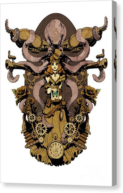 Octopus Canvas Print - Papillon Mecaniques by Brian Kesinger