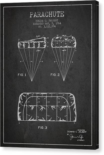 Skydiving Canvas Print - Parachute Design Patent From 1964 - Dark by Aged Pixel