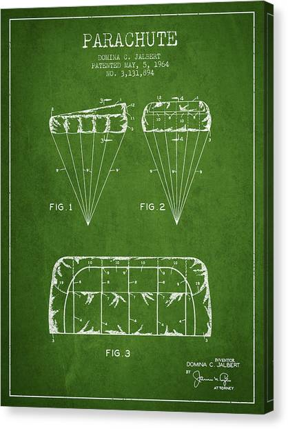 Skydiving Canvas Print - Parachute Design Patent From 1964 - Green by Aged Pixel