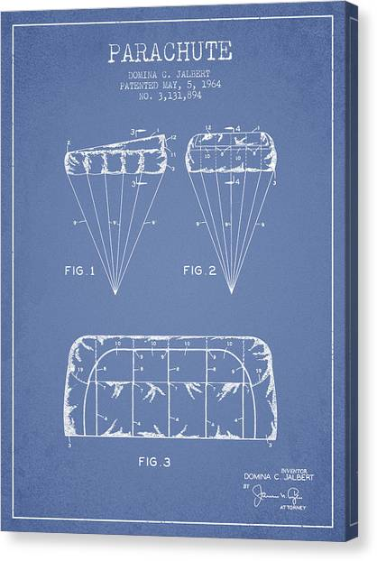 Skydiving Canvas Print - Parachute Design Patent From 1964 - Light Blue by Aged Pixel