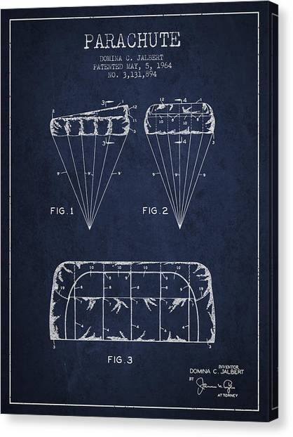 Skydiving Canvas Print - Parachute Design Patent From 1964 - Navy Blue by Aged Pixel