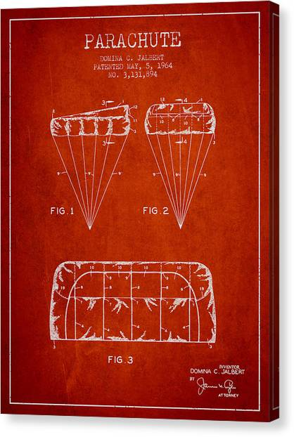 Skydiving Canvas Print - Parachute Design Patent From 1964 - Red by Aged Pixel