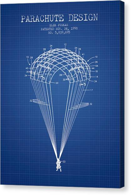 Skydiving Canvas Print - Parachute Design Patent From 1998 - Blueprint by Aged Pixel