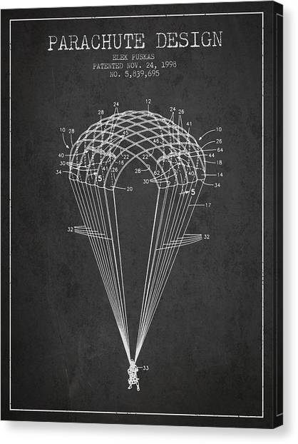 Skydiving Canvas Print - Parachute Design Patent From 1998 - Dark by Aged Pixel