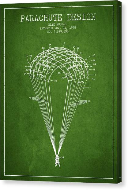 Skydiving Canvas Print - Parachute Design Patent From 1998 - Green by Aged Pixel