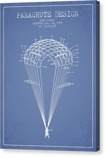 Skydiving Canvas Print - Parachute Design Patent From 1998 - Light Blue by Aged Pixel
