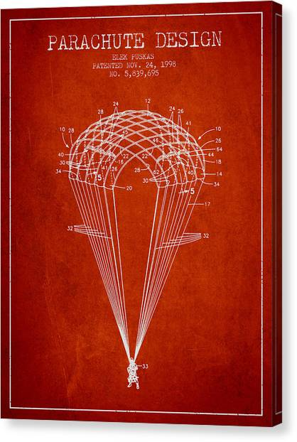 Skydiving Canvas Print - Parachute Design Patent From 1998 - Red by Aged Pixel