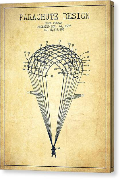 Skydiving Canvas Print - Parachute Design Patent From 1998 - Vintage by Aged Pixel