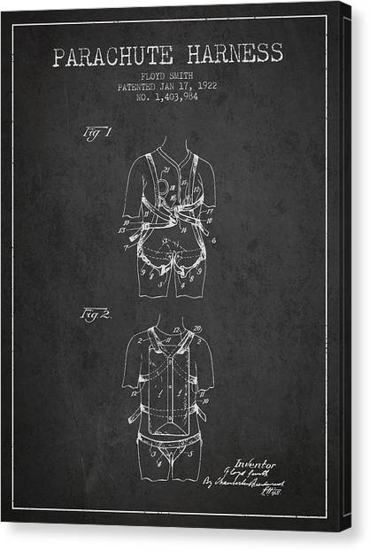 Skydiving Canvas Print - Parachute Harness Patent From 1922 - Charcoal by Aged Pixel