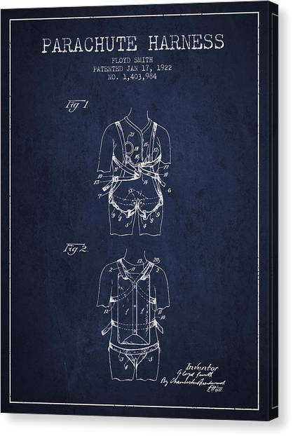Skydiving Canvas Print - Parachute Harness Patent From 1922 - Navy Blue by Aged Pixel