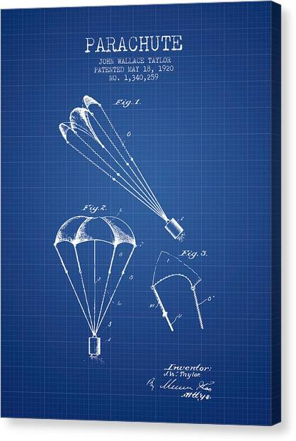 Skydiving Canvas Print - Parachute Patent From 1920 - Blueprint by Aged Pixel