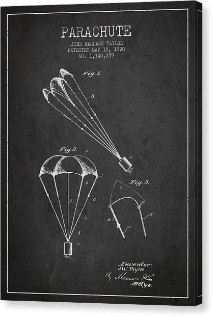 Skydiving Canvas Print - Parachute Patent From 1920 - Charcoal by Aged Pixel