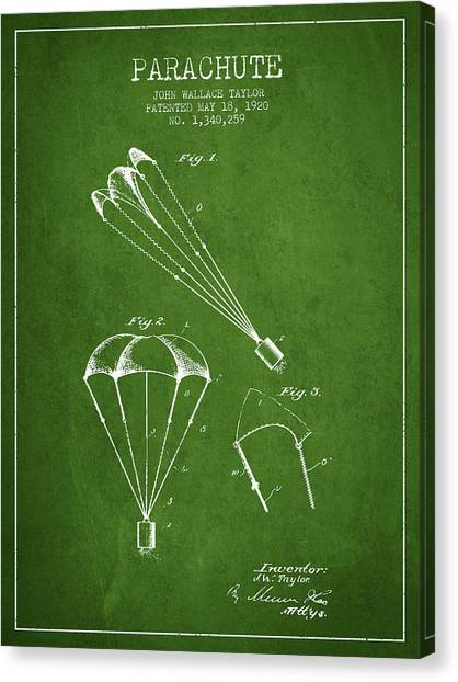 Skydiving Canvas Print - Parachute Patent From 1920 - Green by Aged Pixel