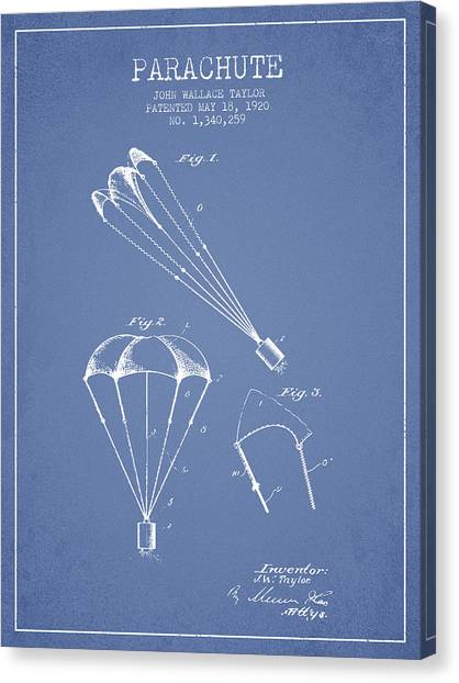 Skydiving Canvas Print - Parachute Patent From 1920 - Light Blue by Aged Pixel