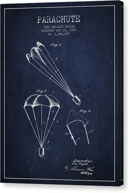 Skydiving Canvas Print - Parachute Patent From 1920 - Navy Blue by Aged Pixel