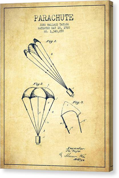 Skydiving Canvas Print - Parachute Patent From 1920 - Vintage by Aged Pixel