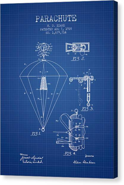 Paratroopers Canvas Print - Parachute Patent From 1928 - Blueprint by Aged Pixel